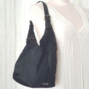 vintage Coach canvas shoulder bag leather trim